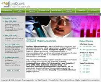 HTML Website for Healthcare 'ImQuest' - Pharmaceutical Company