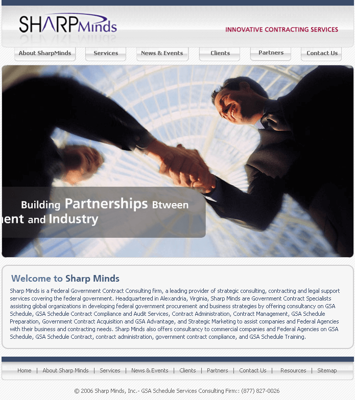 HTML Website for GSA Schedule Consulting Firm 'Sharp Minds Inc'