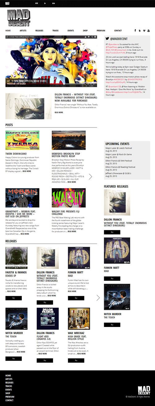 HTML Website for Entertainment (Artist, Music, Events) 'Mad Decent'