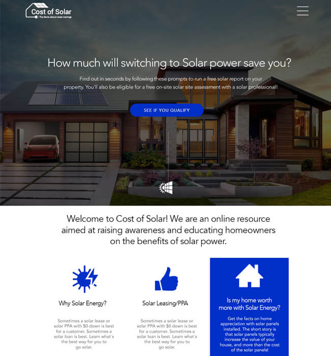 Responsive Website Development for Solar Industry, USA – Cost of Solar