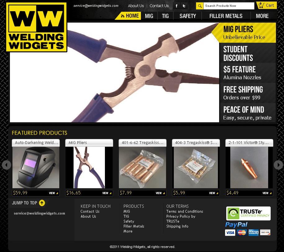 HTML Website for Welding Equipment Supplier 'Welding Widgets'