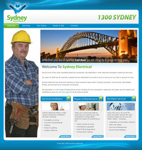 HTML Website for Electrical Services Provider 'Sydney Electrical'
