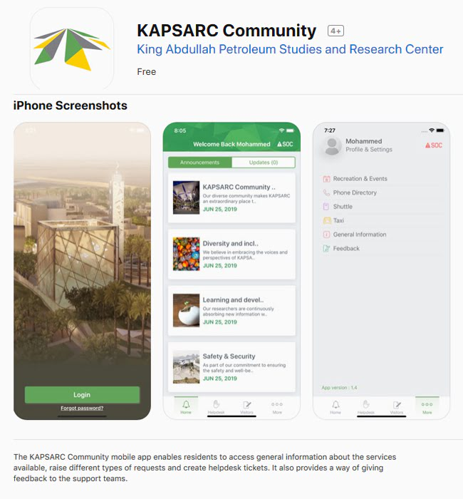 Mobile App Development for KAPSARC Community in Riyadh, Saudi Arabia