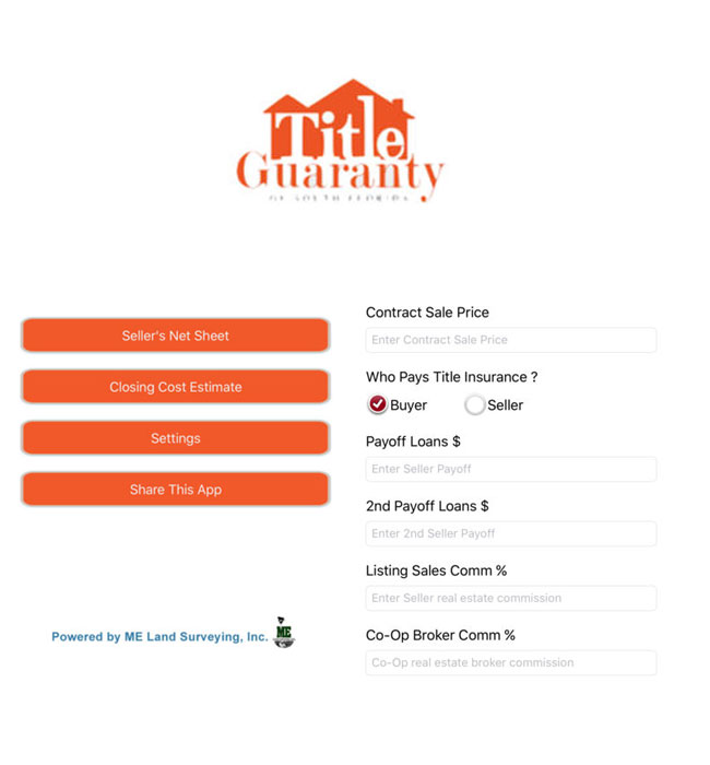 iOS App for the Closing Cost Estimation of the Property - Title Guaranty
