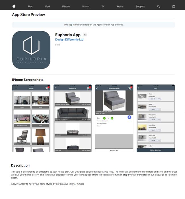 iPhone App Development for Home Furnishing Industry in Mauritius - Euphoria