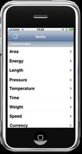 iPhone Mobile App for Measurements Conversion 'Unit Conversion Utility'