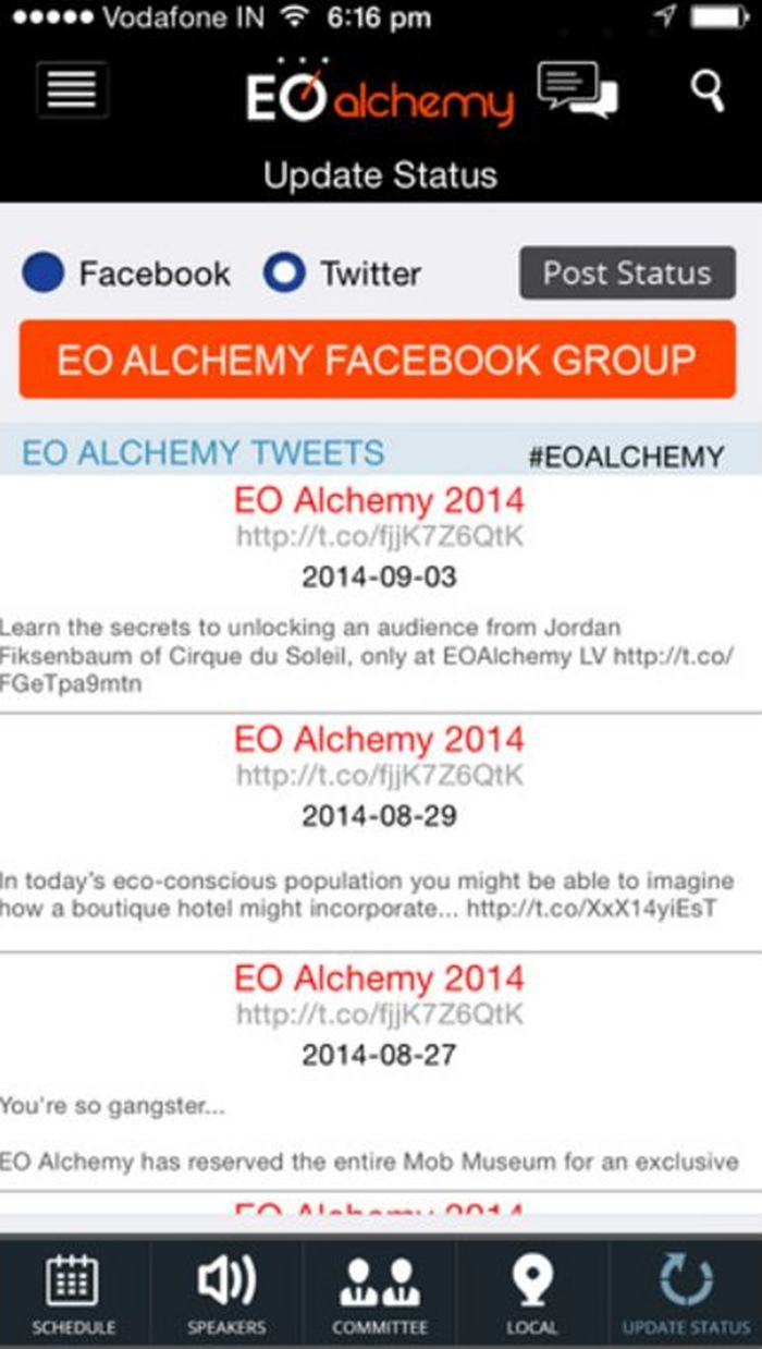 Development of an iOS Based EO Alchemy Event App