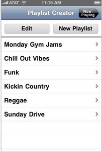 iPhone Mobile App for Entertainment 'PlaylistCreator' - Playlist Creator