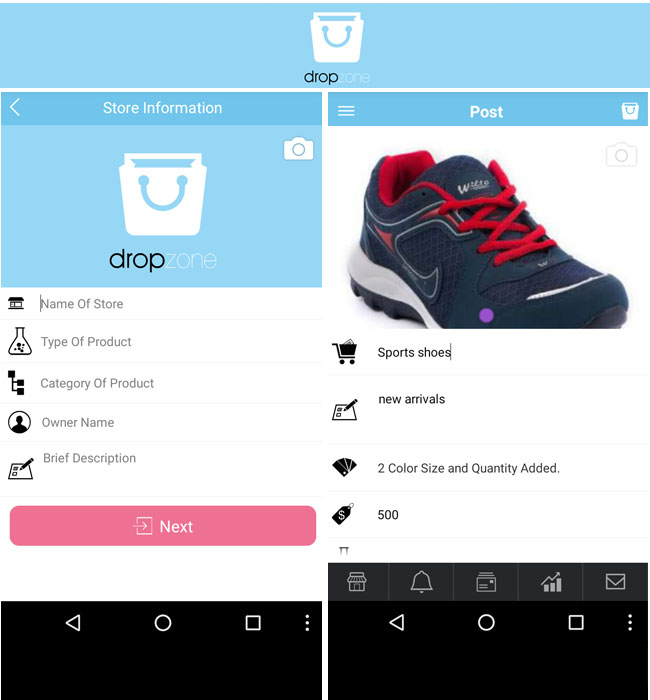 Android & iOS Application Development for eCommerce - dropzone
