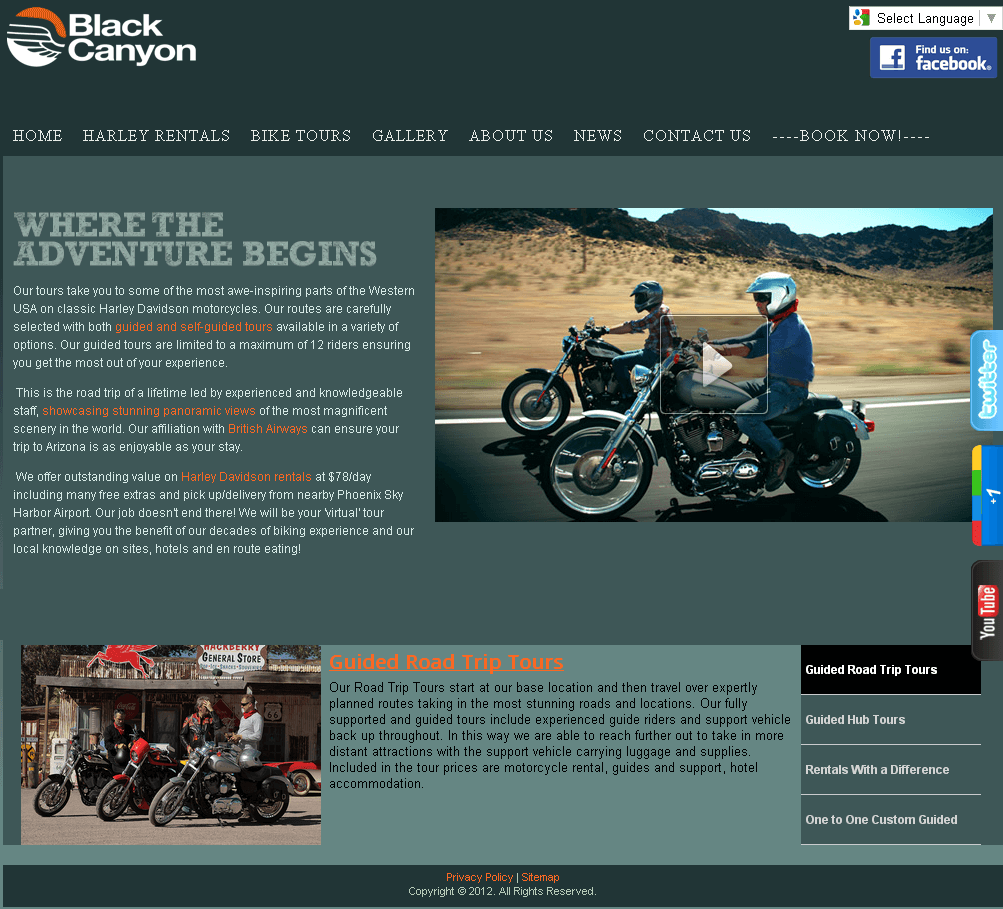 Development of Joomla Based Website - Black Canyon Tours