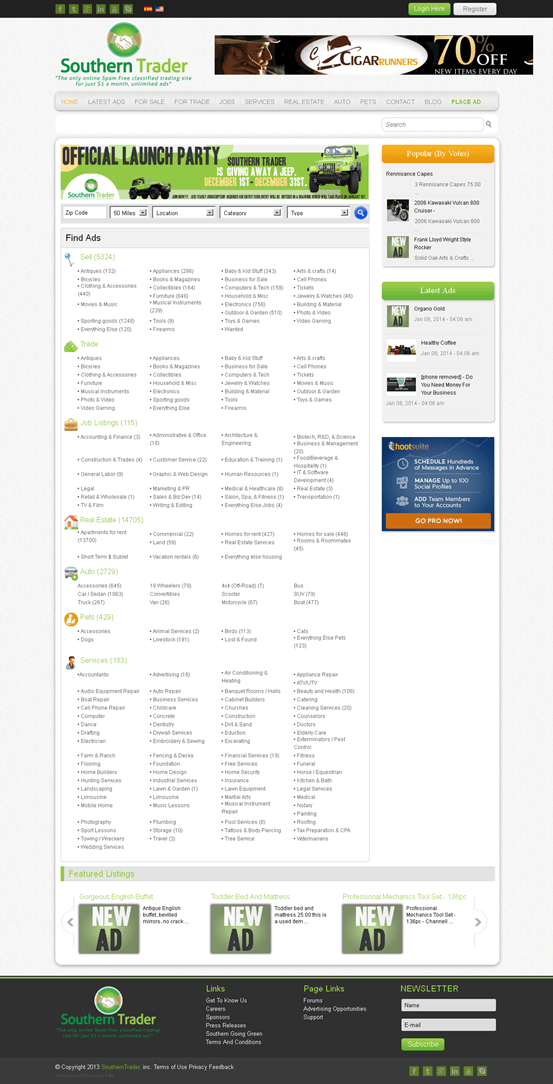Modification Of Joomla Powered Classified Trading Site - Southern Trader