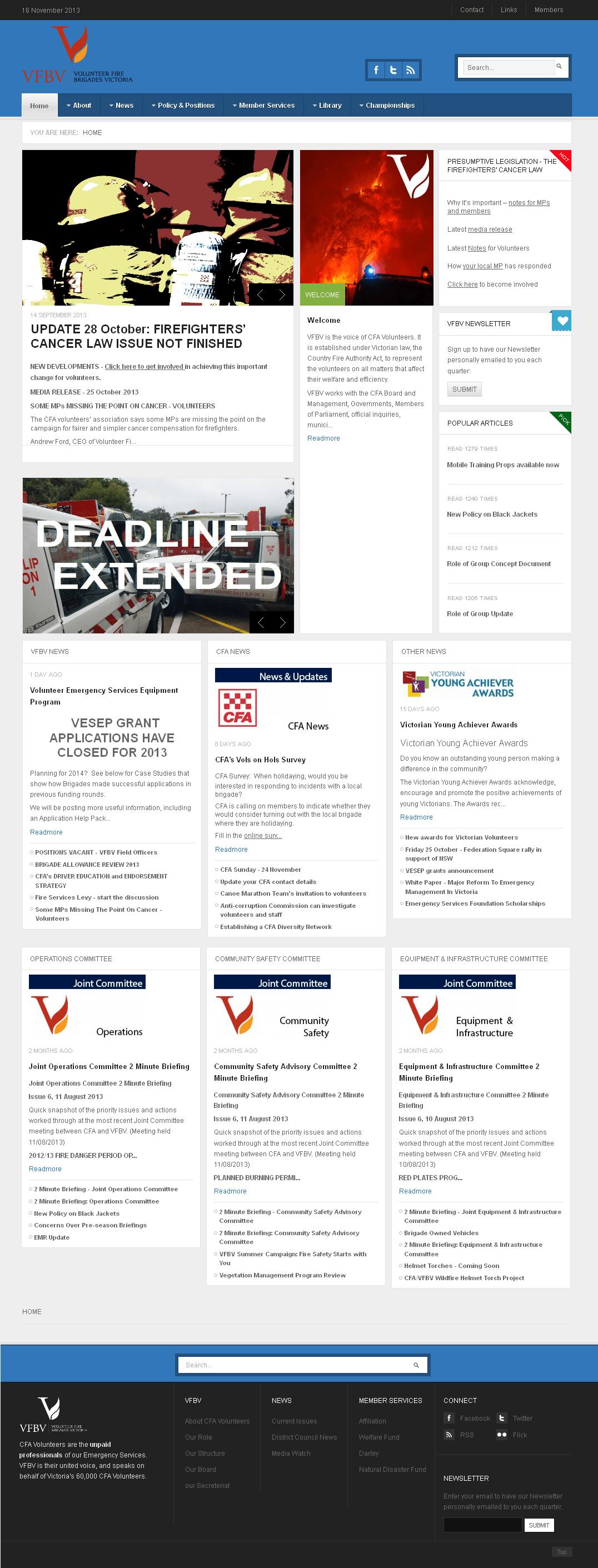 Development of Joomla Powered Website - Volunteer Fire Brigades Victoria