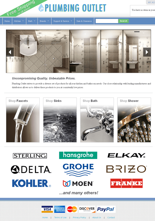 Magento Website for Kitchen & Bath Products Supplier 'Plumbing Outlet'