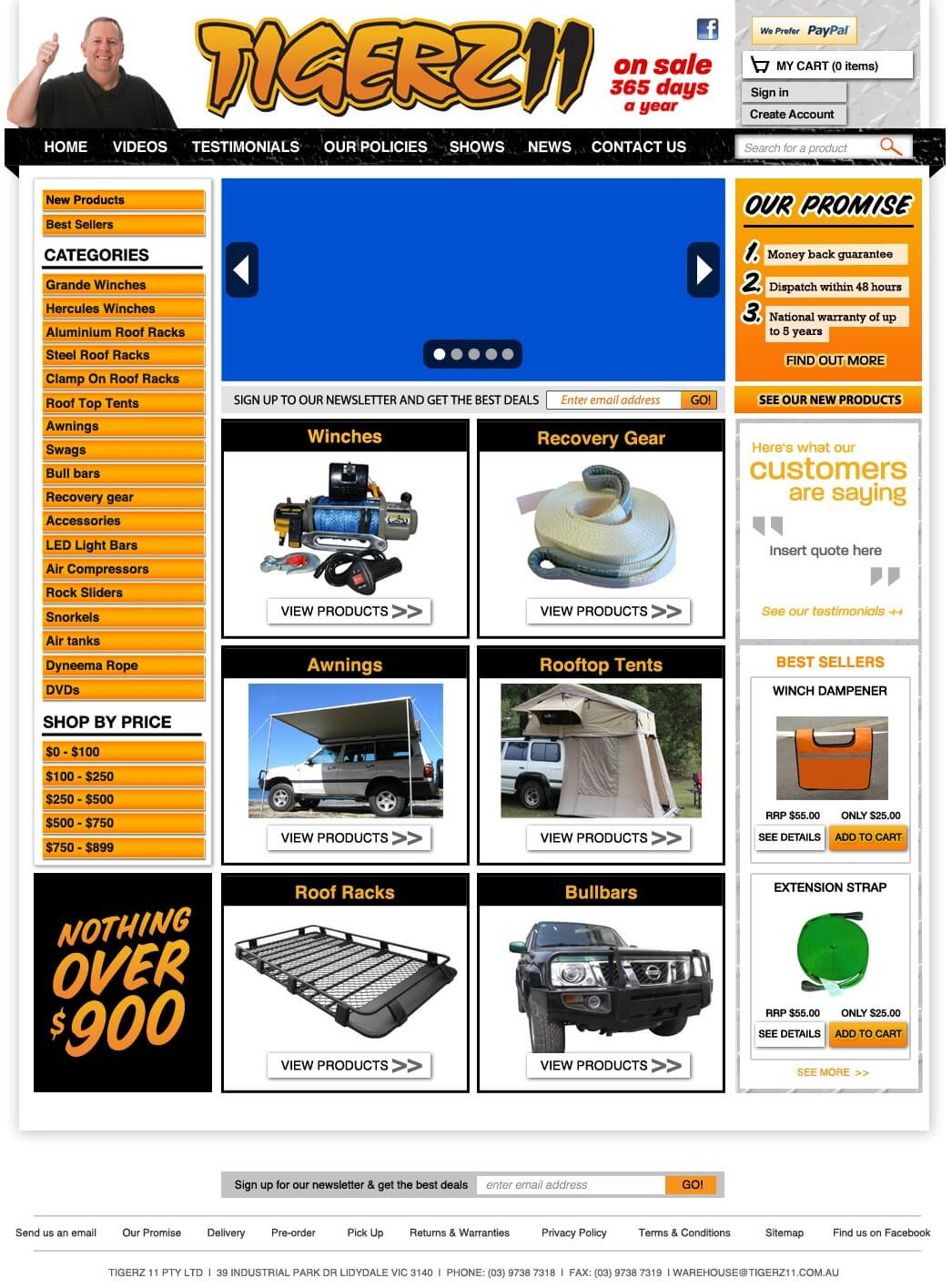 Magento Website for 4wd Winches & Accessories Manufacturer 'TIGERZ11'