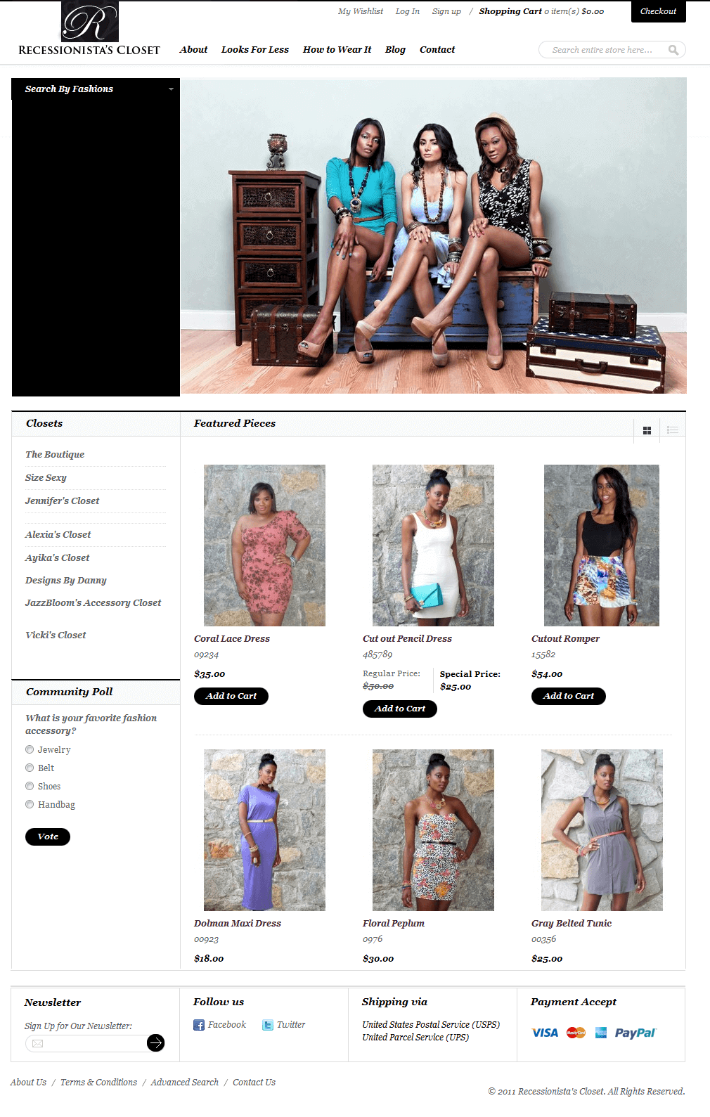 Magento Website for 'Recessionista's Closet' –Recycle Fashion Store