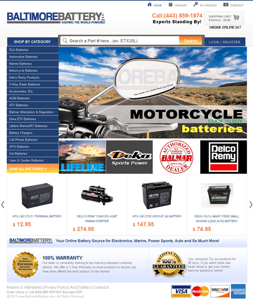 Magento Website for Online Automotive Battery Seller 'BALTIMOREBATTERY'