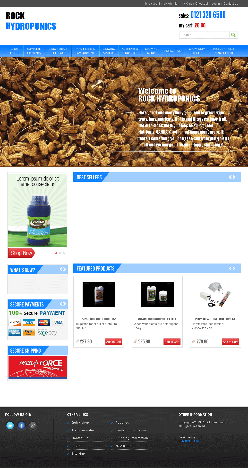 Rockhydroponics.co.uk. - A Magento Based Ecommerce Site