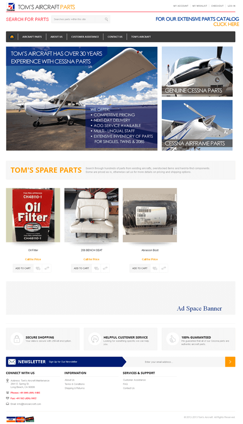 An Ecommerce Site to Deal in Aircraft Parts