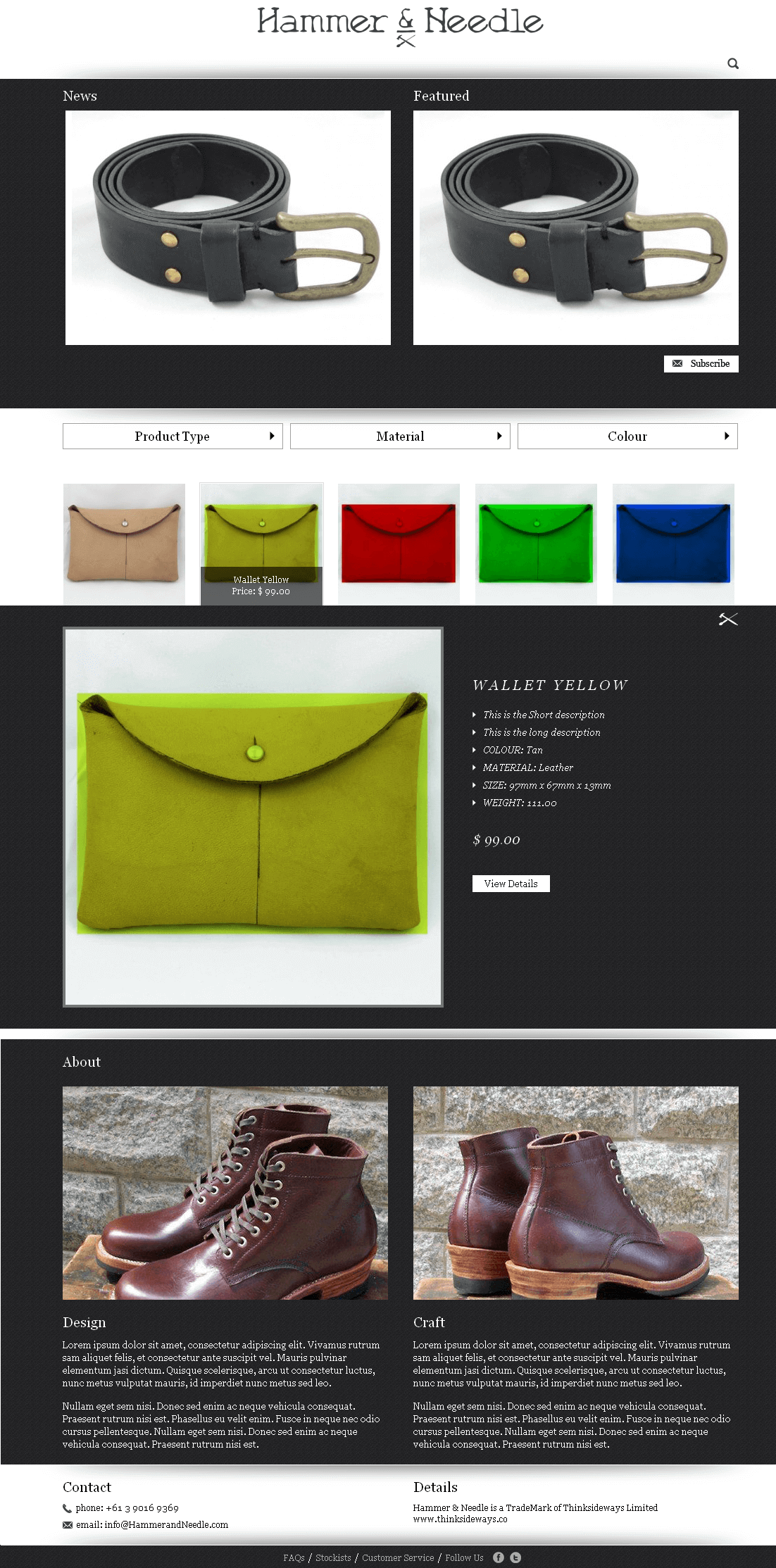 An Online Store Selling Leather Products