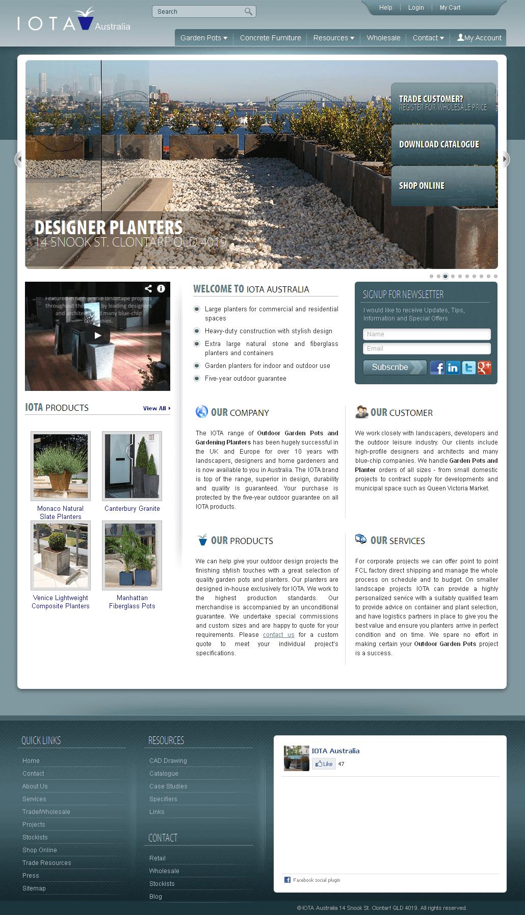 Magento Website for Outdoor Garden Pots & Planters Supplier 'IOTA'