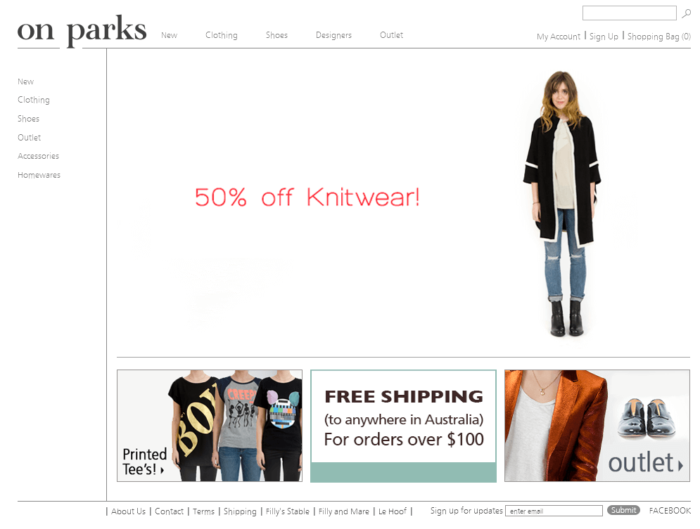 Magento Website for Retail 'on parks' – Online Fashion Clothing Store