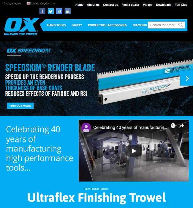 Website Development for a Construction Tool Company, Australia - OX Tools