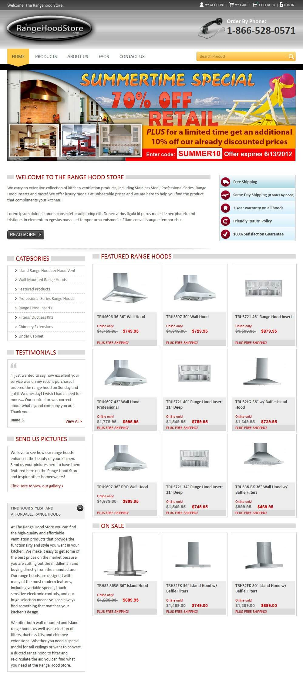 Range Hood Store - Redesigning and Modifying a Magento Online Store