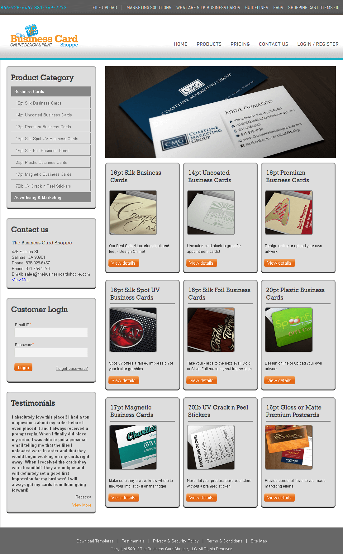 Magento Website for 'The Business Card' – Online Design & Printing