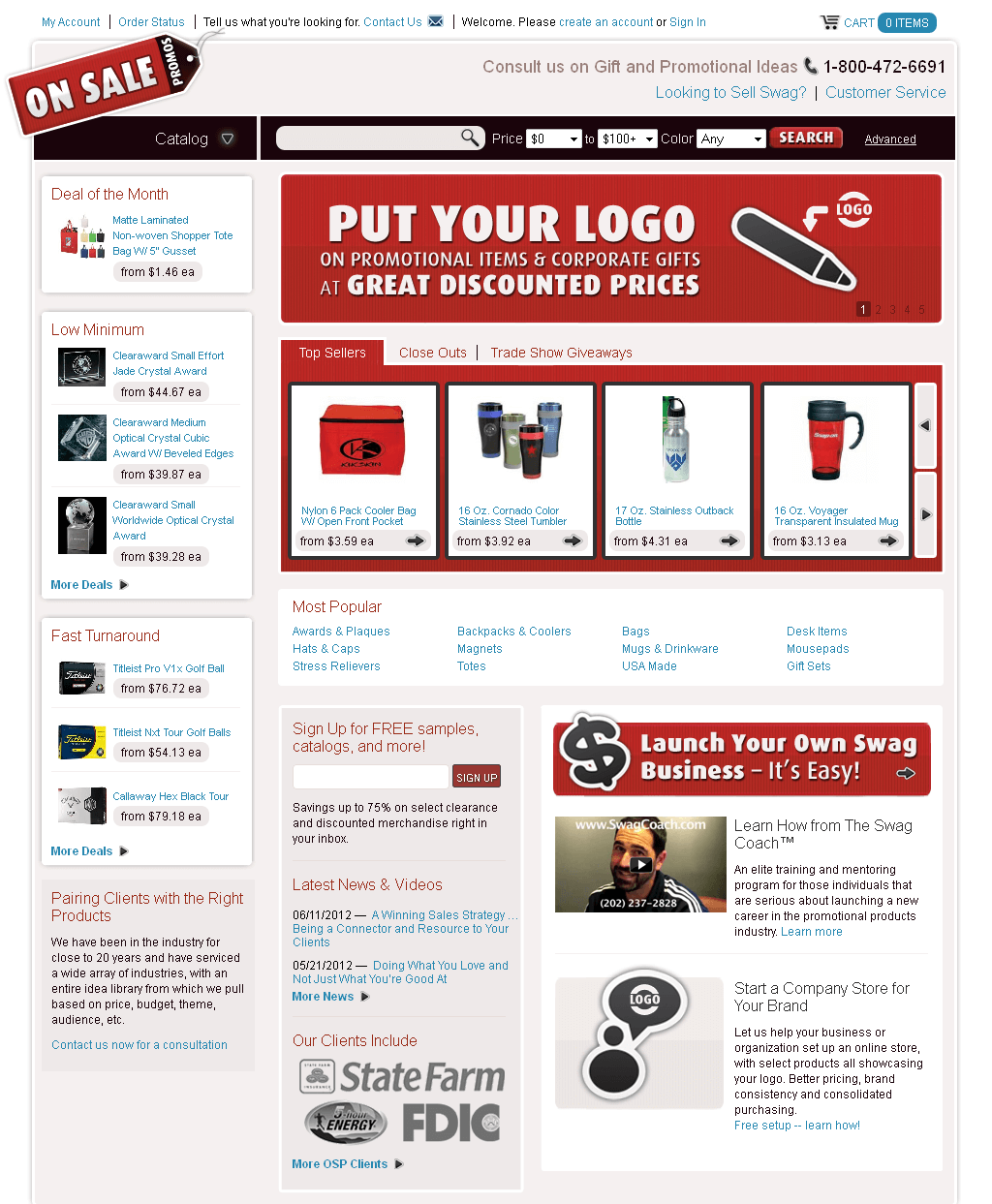 PHP Website for Promotional Product & Corporate Gift 'OnSalePromos'