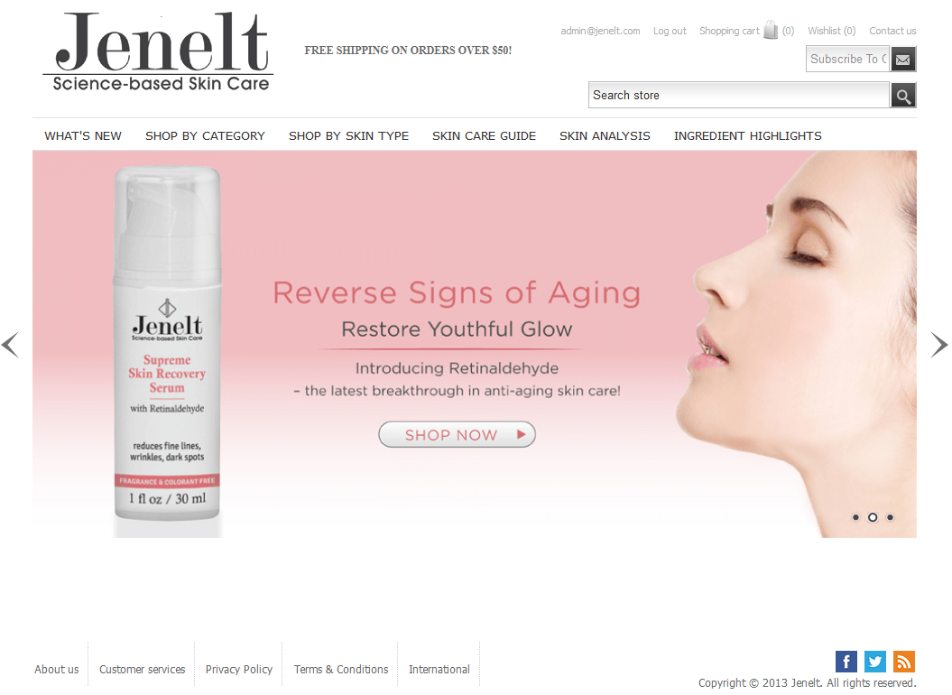 Jenelt - An Online Store for Skin Care Products, USA