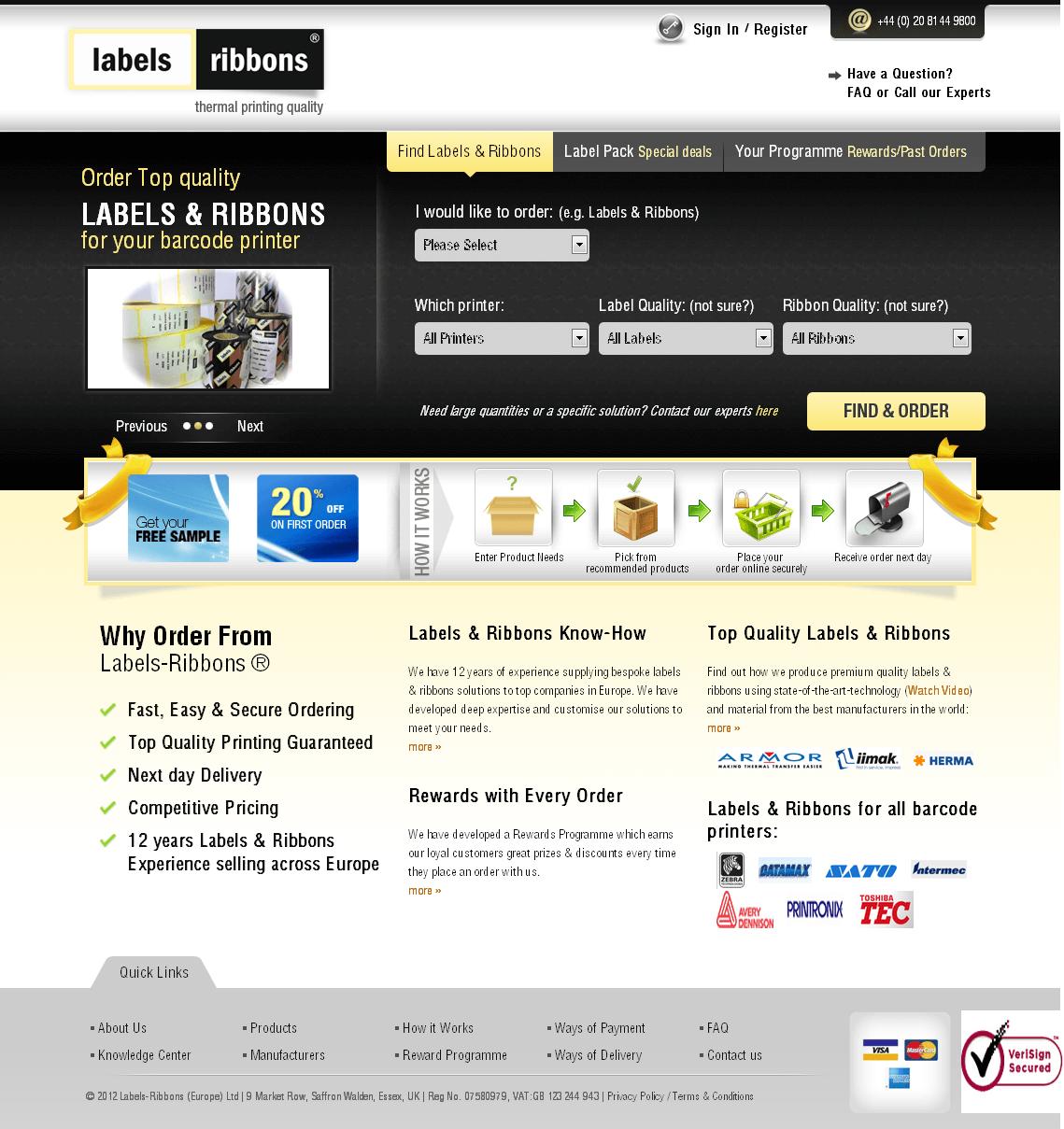 PHP Website 'labelsribbons' - Labels & Ribbons for Barcode Printer