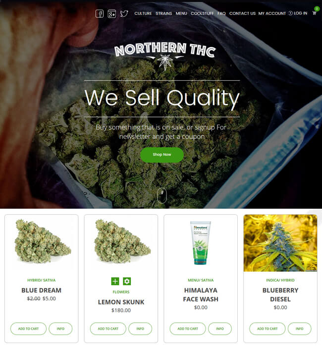 nopCommerce Website Development for Medical Industry, USA – Northern THC