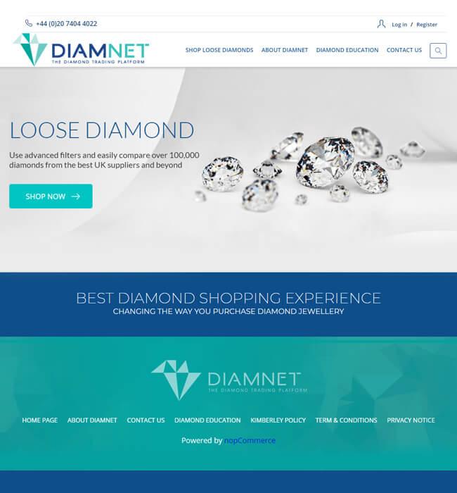NopCommerce Website Development for Diamond Industry, UK - Diamnet