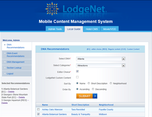 Mobile Content Management System for Travel 'LodgeNet' Using PHP