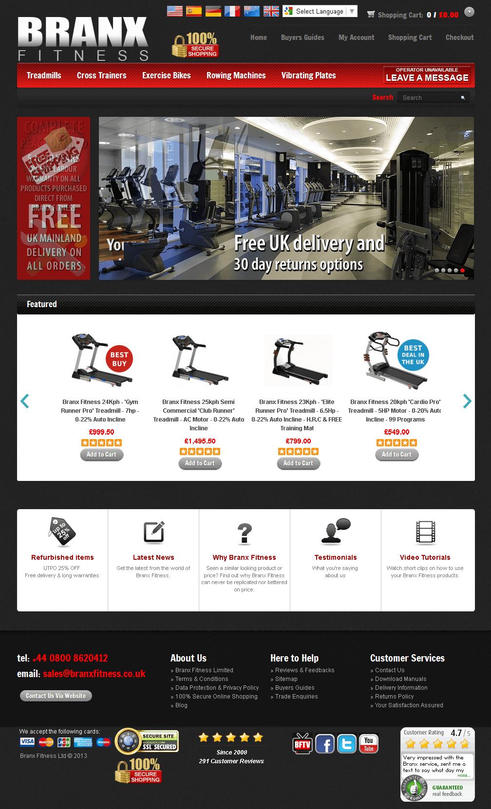 PHP Website for Online Fitness Equipment Seller 'BRANX FITNESS'
