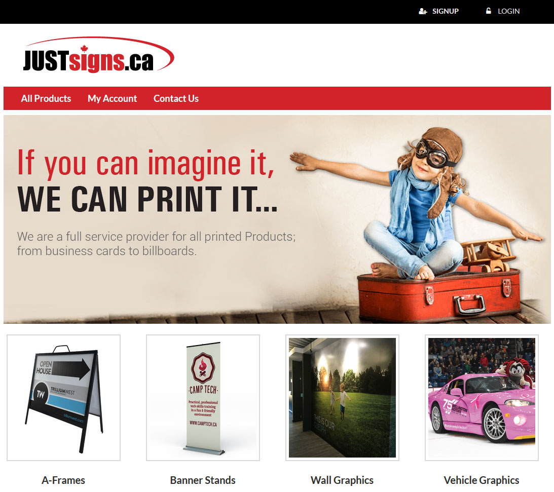 PHP Website for Digital Printing Services Provider 'JUSTsigns'