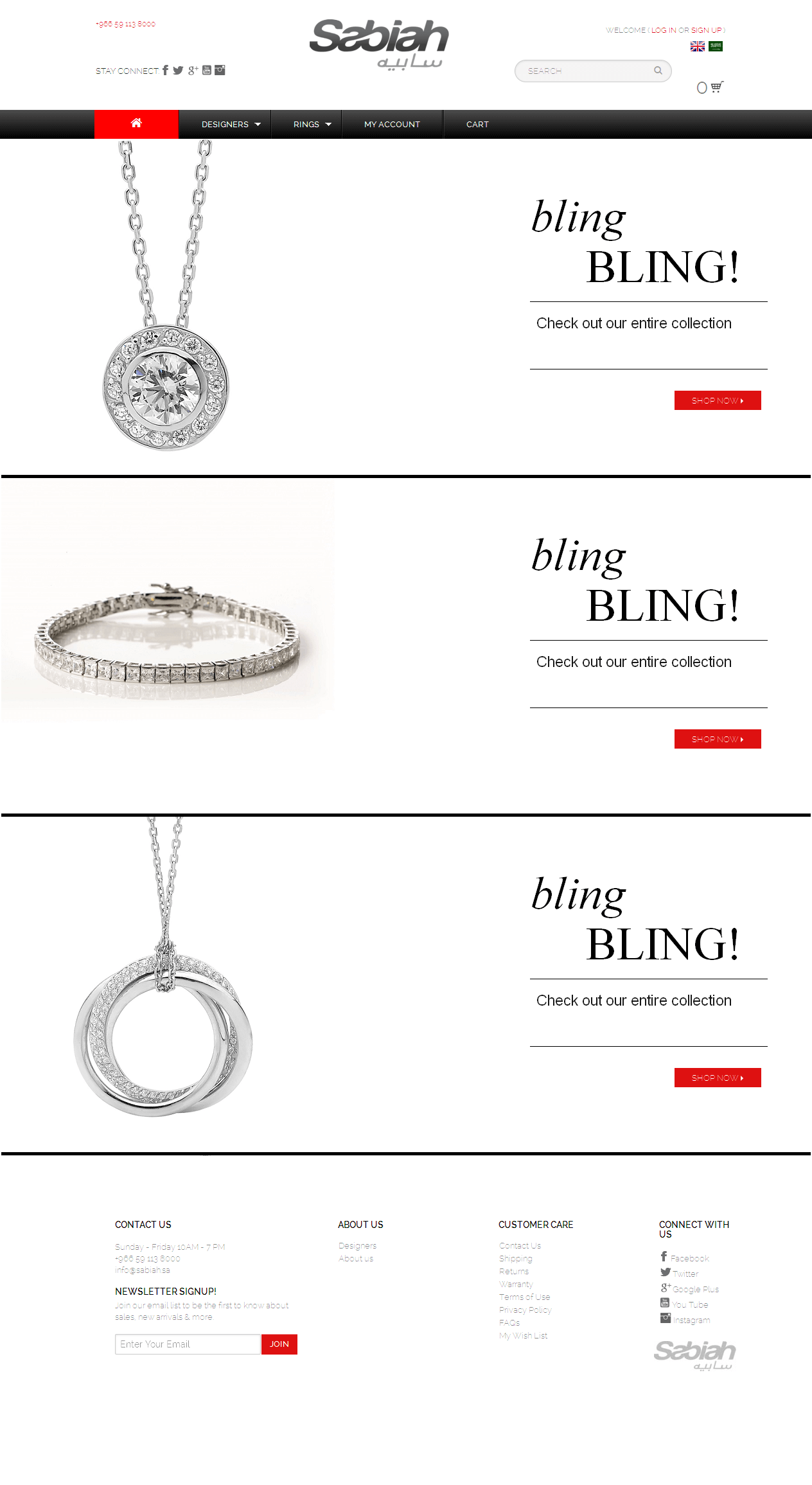 Website for Consumer 'Sabiah' Using PHP – Sell Women Jewelry Online