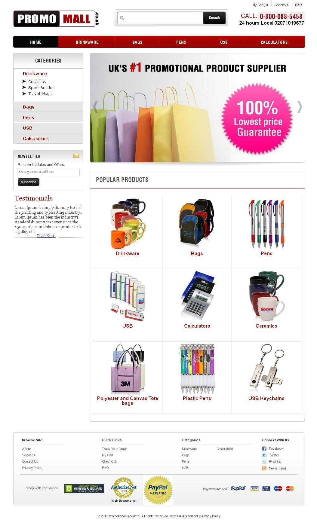 Website for Retail 'Promo Mall' Using PHP – Sell Promotional Products