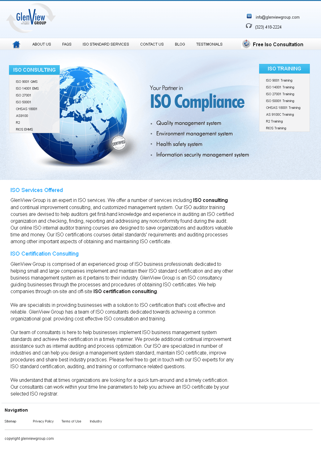 Website for ISO Consulting Service Provider 'GlenView' Using PHP