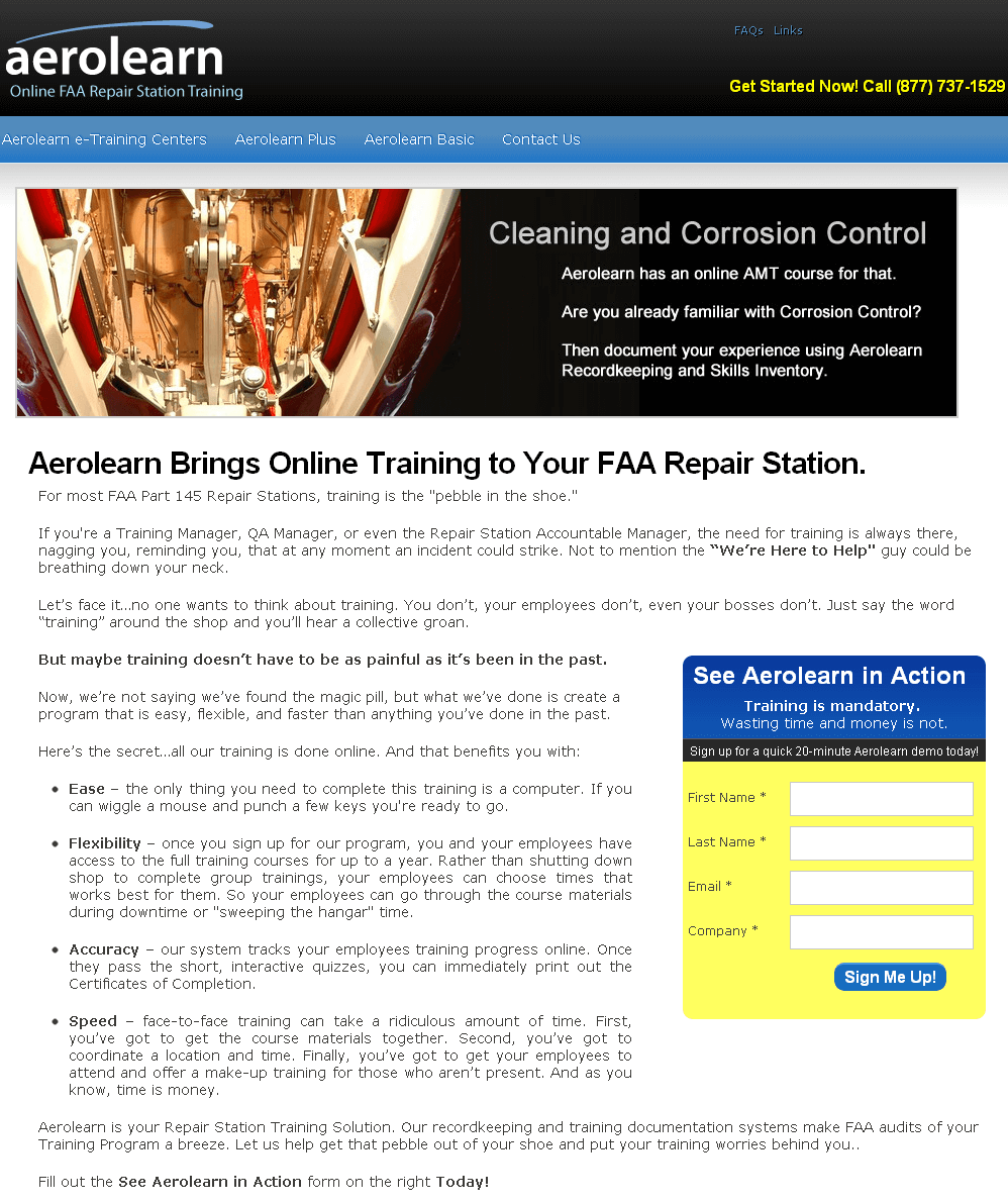 Website for FAA Repair Station Training Provider 'Aerolearn' Using PHP