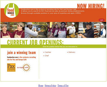 Website for Food Service Job Provider 'Food Worker' Using PHP