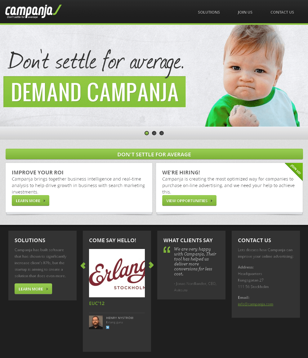 Website for Business Analyst & Promoter 'campanja' Using PHP
