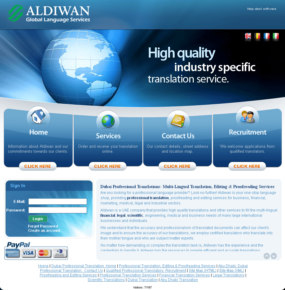Website for Professional Translation Services 'ALDIWAN' Using PHP