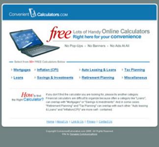 Website for 'Convenient Calculators' Using PHP – Online Calculator