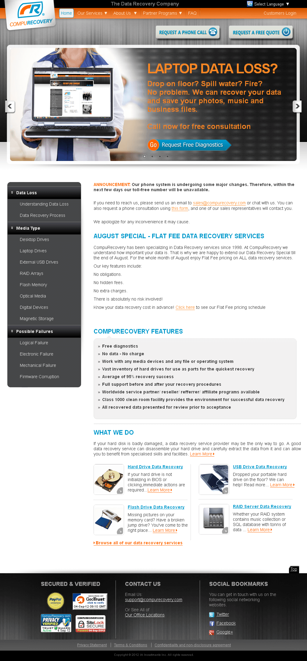 Website for Data Recovery Service Provider 'CompuRecovery' Using PHP