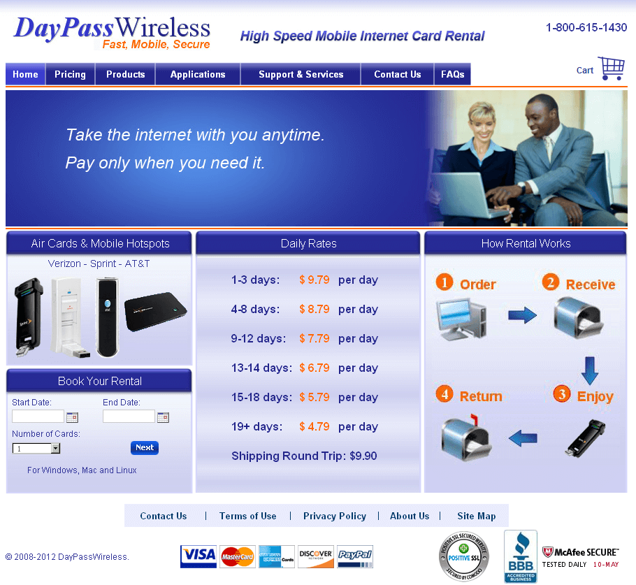 Website for 'DayPassWireless' Using PHP – Air Cards On Rent