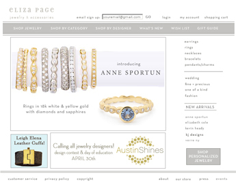 Website for 'Elizapage' Using PHP- Online Artificial Jewelry Store