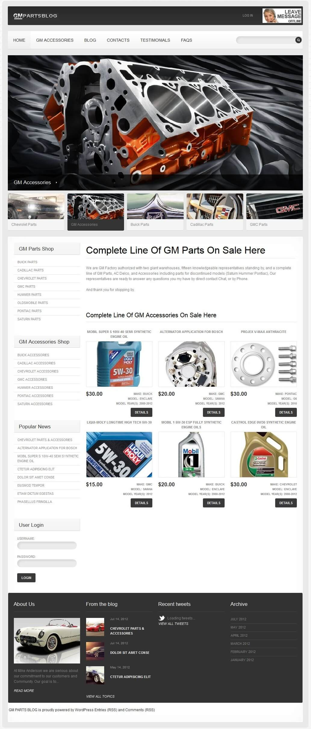 Website for Consumer 'GM Parts' Using PHP – Sell Parts & Accessories