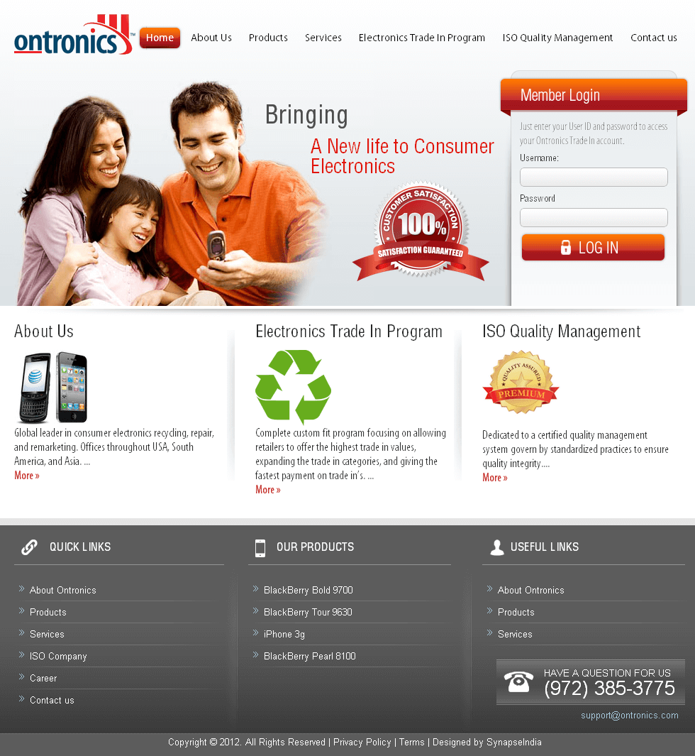 Website for 'ontronics' Using CakePHP – Online Mobile Phone Store