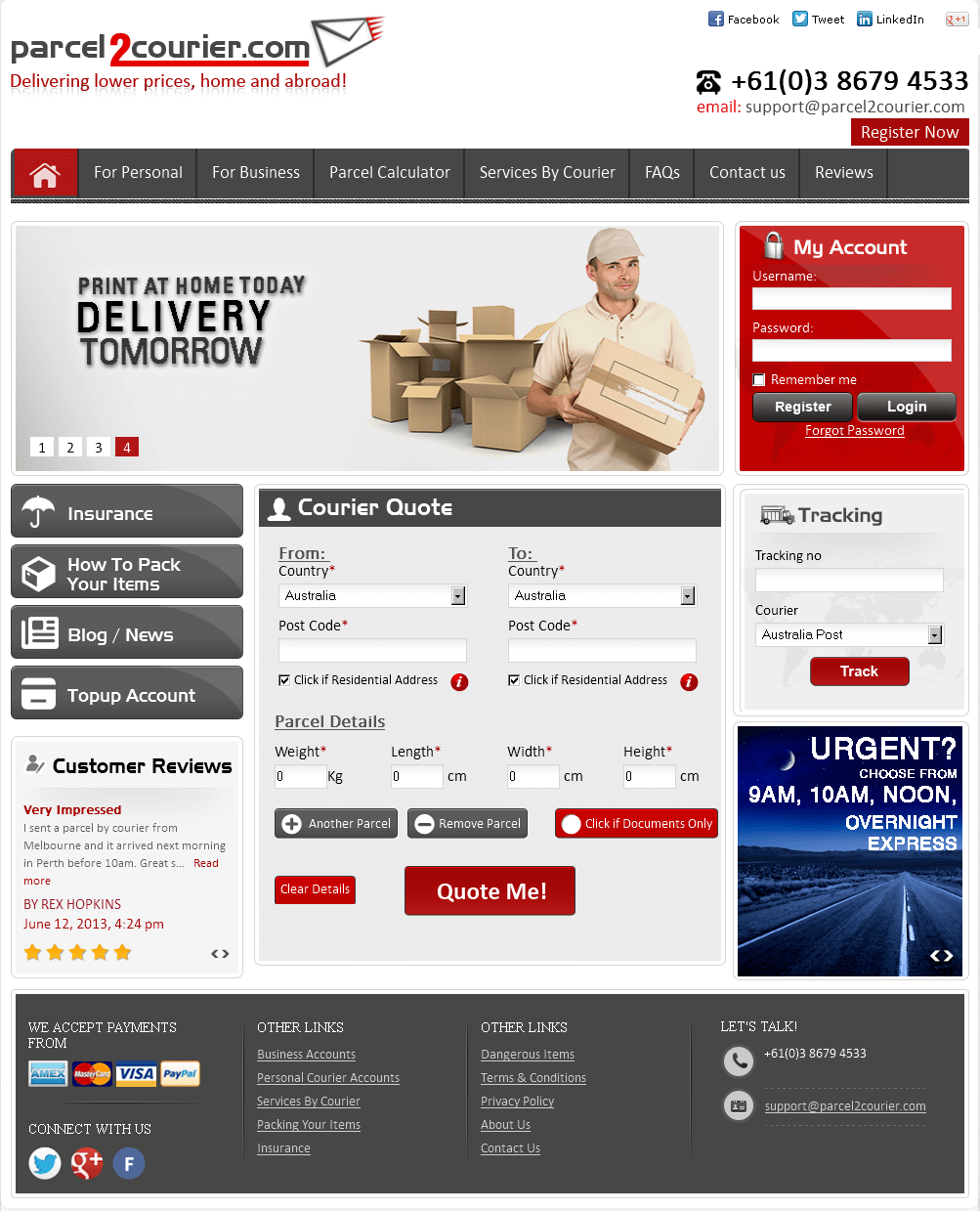 Website for Consumer 'parcel2courier' Using PHP – Courier Services